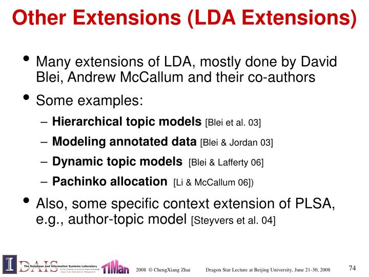 Other Extensions (LDA Extensions)