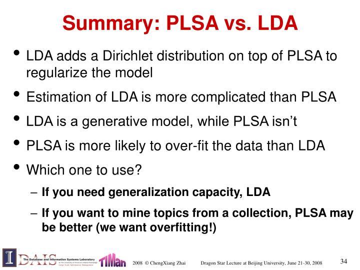 Summary: PLSA vs. LDA