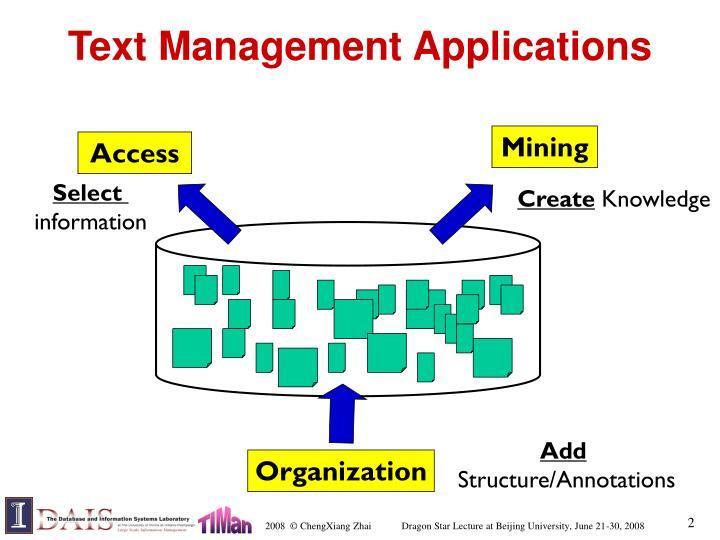 Text management applications