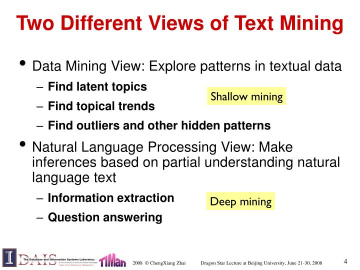 Two Different Views of Text Mining