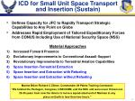 icd for small unit space transport and insertion sustain