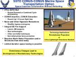 ssto conus conus marine space transportation option space insertion extraction without refueling