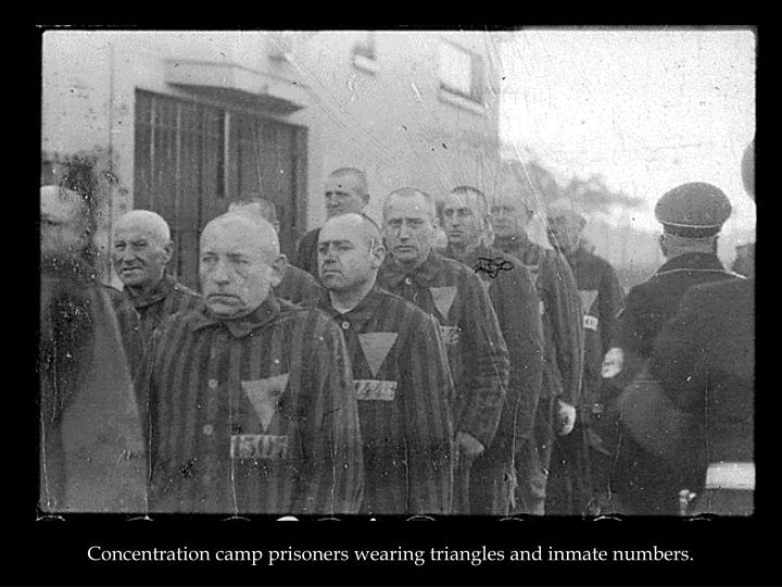 Concentration camp prisoners wearing triangles and inmate numbers.