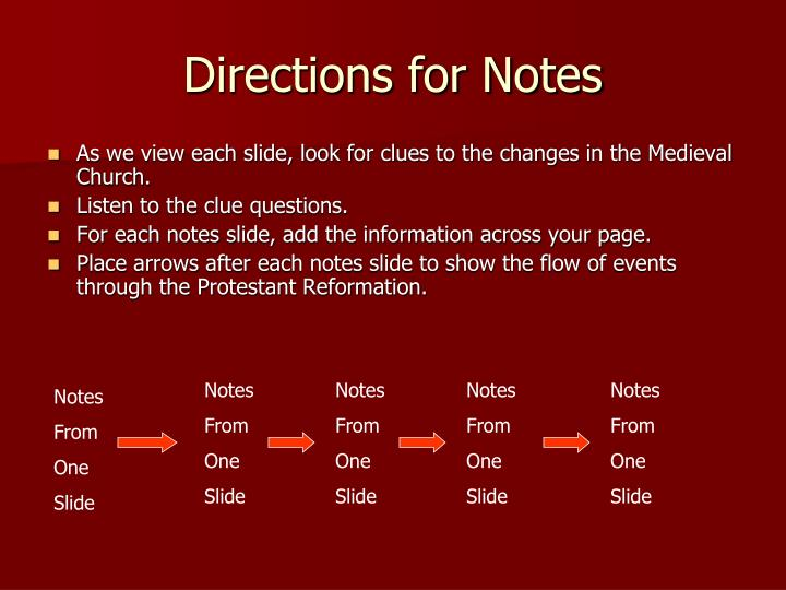 Directions for notes