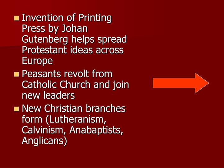 Invention of Printing Press by Johan Gutenberg helps spread Protestant ideas across Europe
