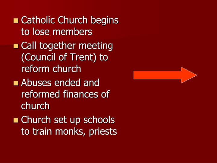 Catholic Church begins to lose members