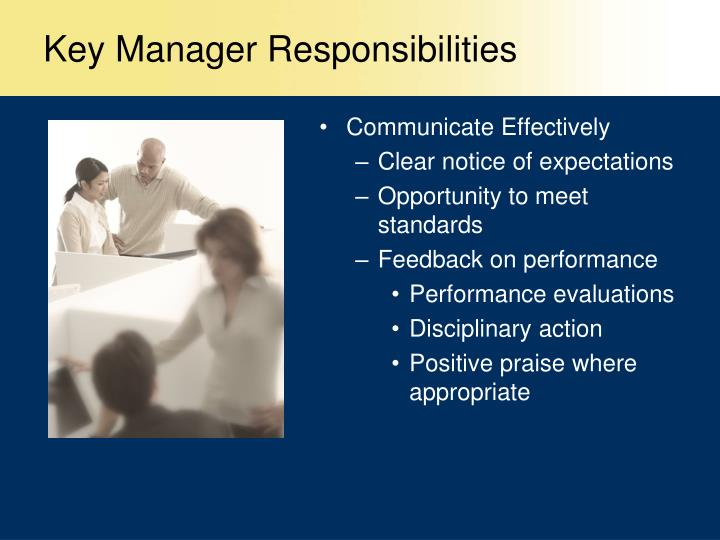 Key Manager Responsibilities