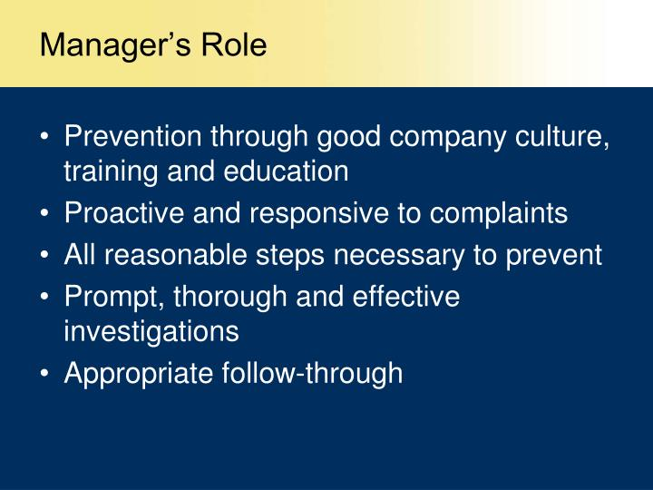 Manager's Role