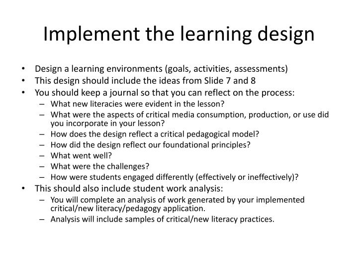 Implement the learning