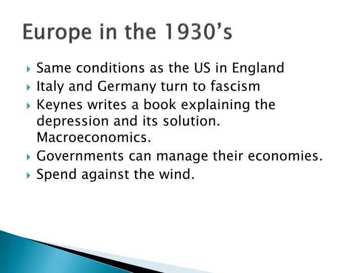Europe in the 1930's