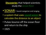 discoveries that helped scientists study the ocean floor