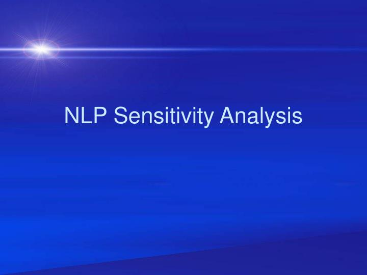 nlp sensitivity analysis n.