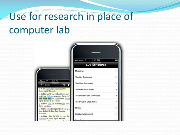 Use for research in place of computer lab