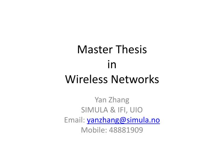 Master thesis in computer networks