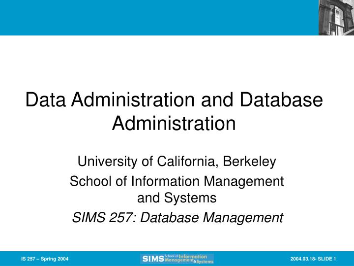 data administration and database administration n.