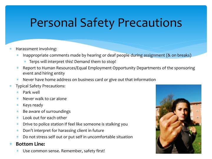 Personal Safety Precautions