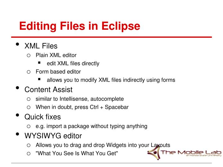 Editing Files in Eclipse