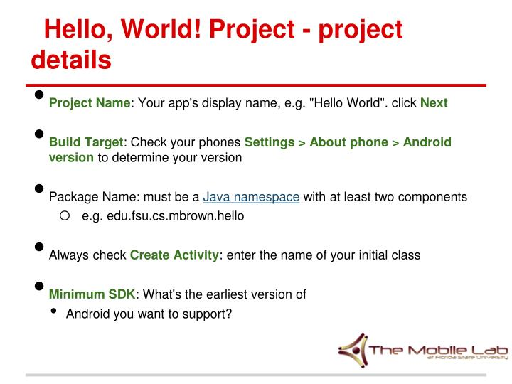 Hello, World! Project - project details