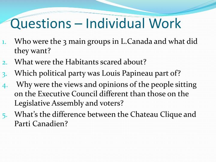 Questions – Individual Work