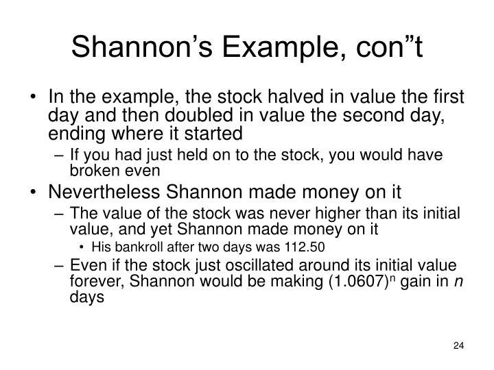 "Shannon's Example, con""t"