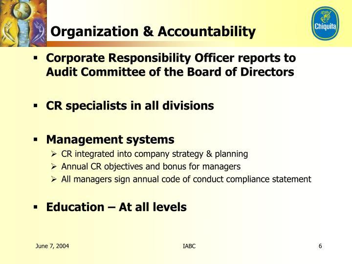 Organization & Accountability