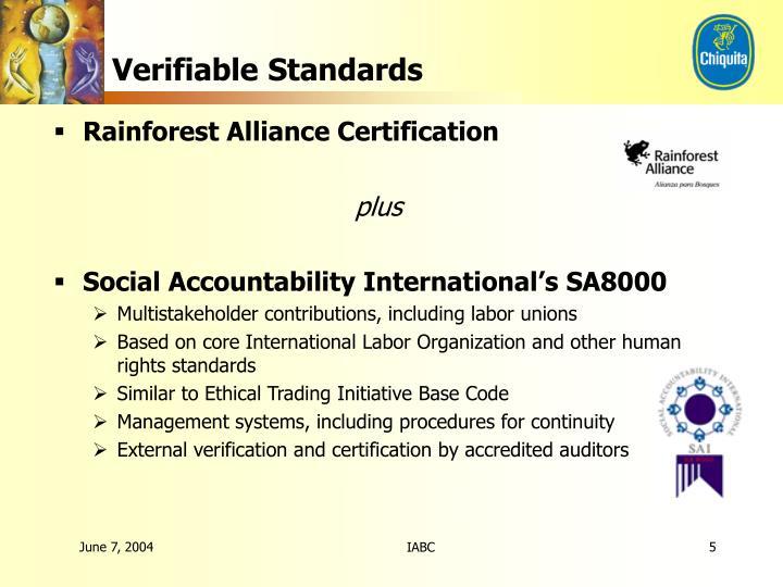 Verifiable Standards