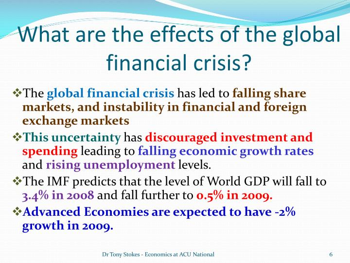 the effects of the global financial crisis of 2008 and 2010 One simple way to gauge the effect of the crisis on emerging and developing economies is to compare gdp growth over the period 2003-07 with growth in 2008, 2009 and 2010 this suggests.