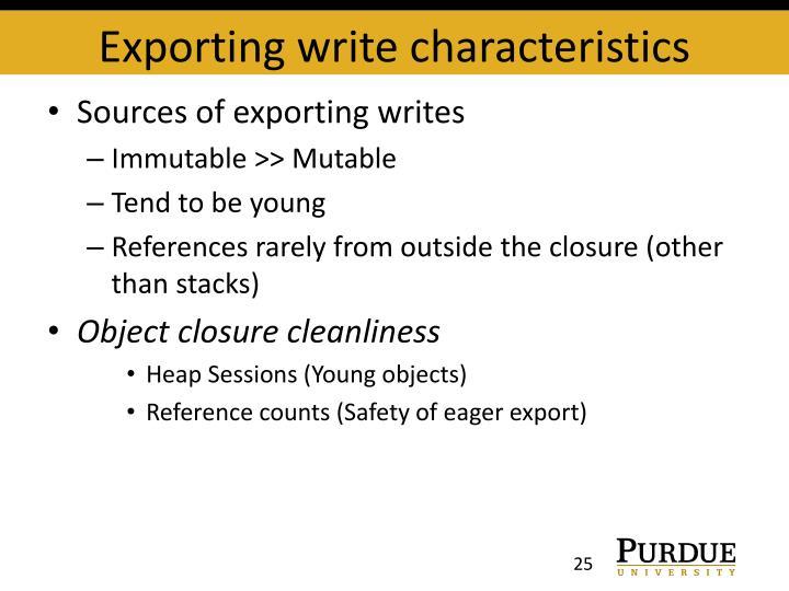 Exporting write characteristics