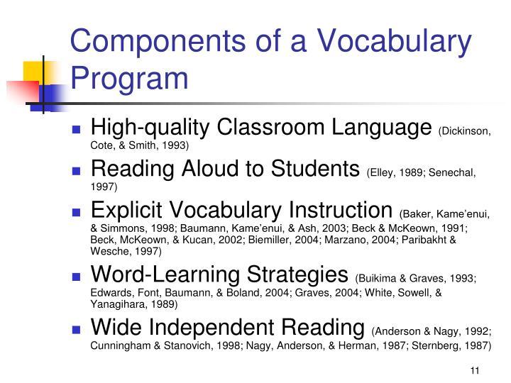 Components of a Vocabulary Program