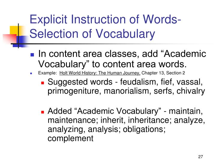 Explicit Instruction of Words-