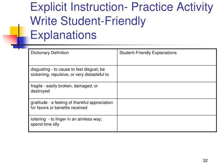 Explicit Instruction- Practice Activity