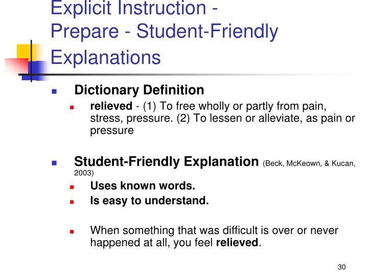 Explicit Instruction -