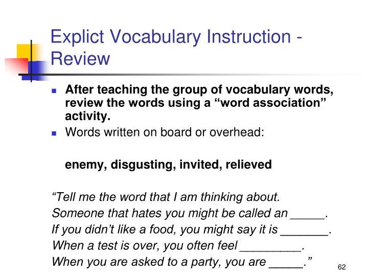 Explict Vocabulary Instruction -