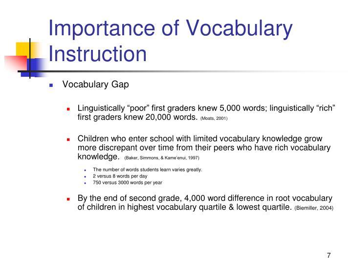 Importance of Vocabulary Instruction