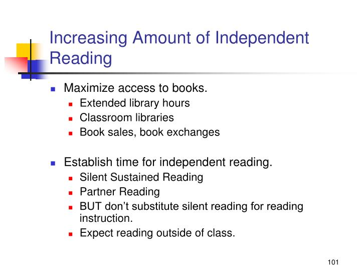 Increasing Amount of Independent Reading