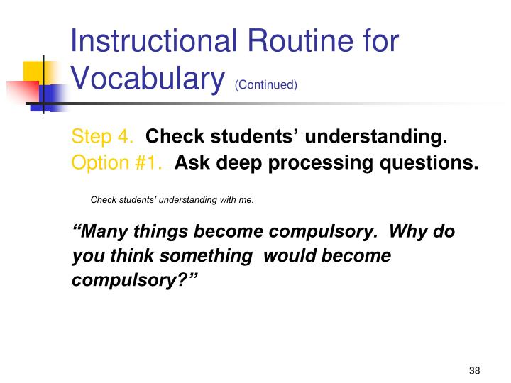Instructional Routine for Vocabulary