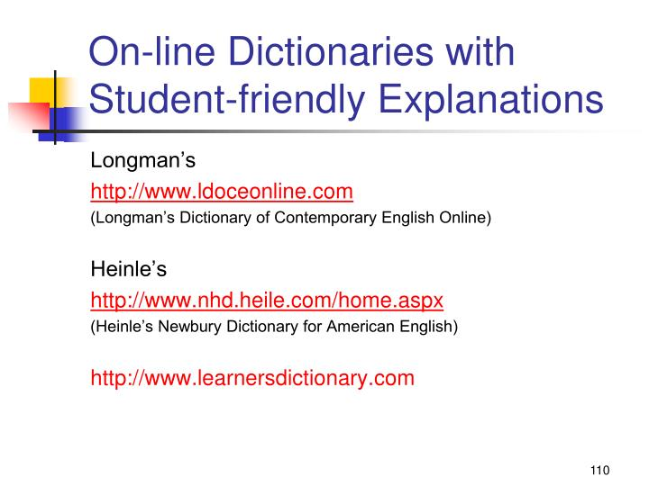 On-line Dictionaries with