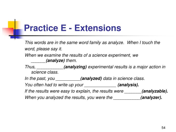 Practice E - Extensions