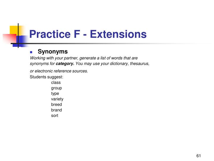 Practice F - Extensions