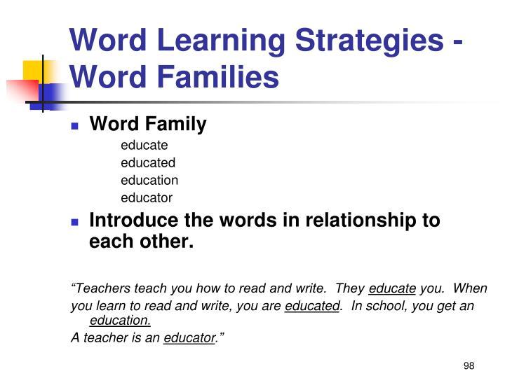 Word Learning Strategies -
