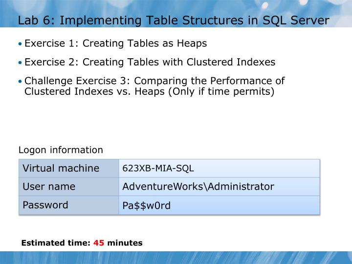 Lab 6: Implementing Table Structures in SQL Server