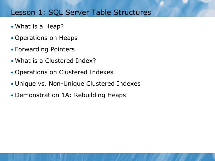 Lesson 1 sql server table structures