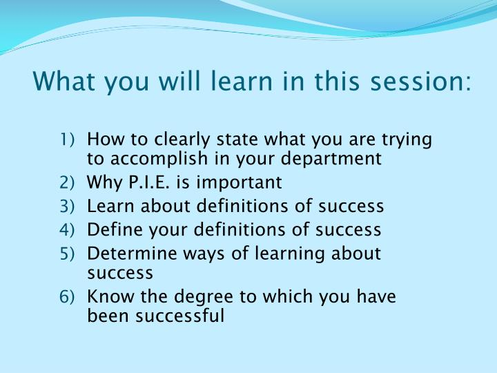 What you will learn in this session