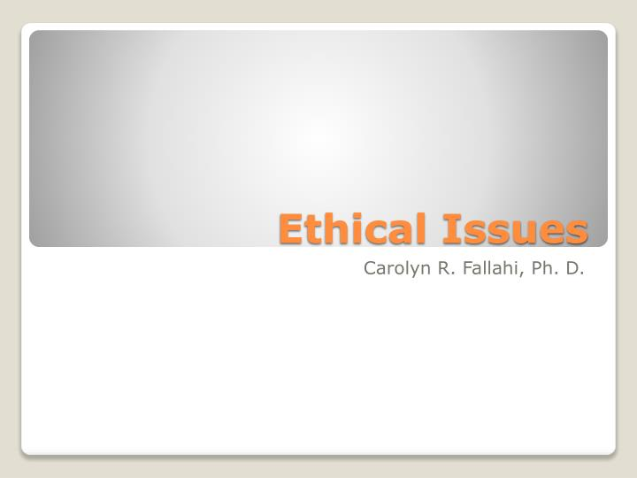 ethical issues n.
