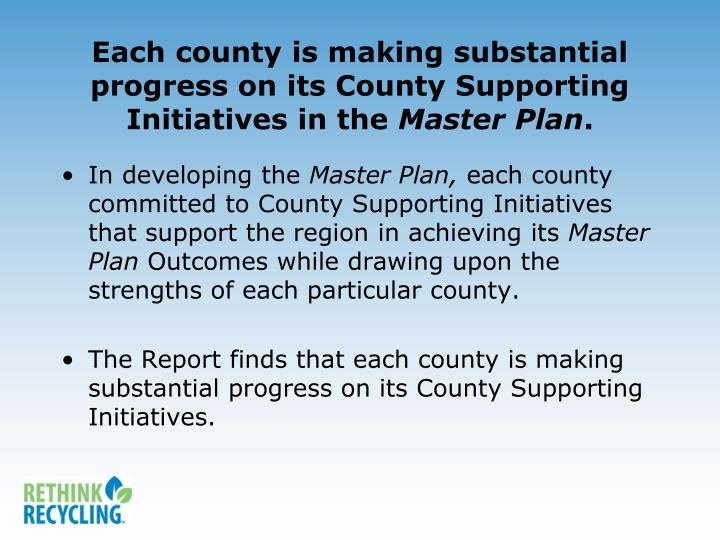 Each county is making substantial progress on its County Supporting Initiatives in the