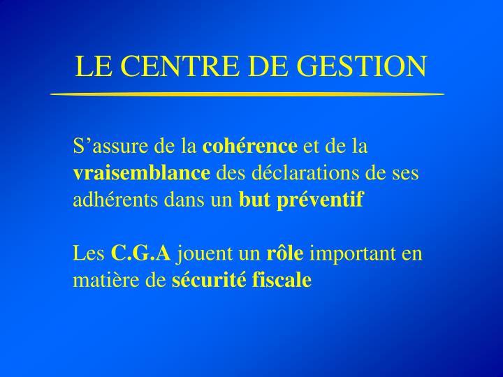 LE CENTRE DE GESTION