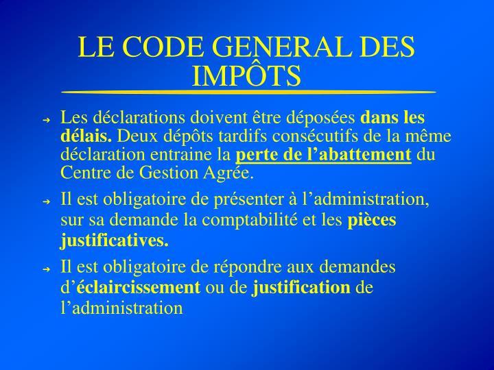 LE CODE GENERAL DES IMPÔTS