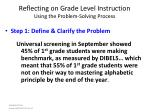 reflecting on grade level instruction using the problem solving process