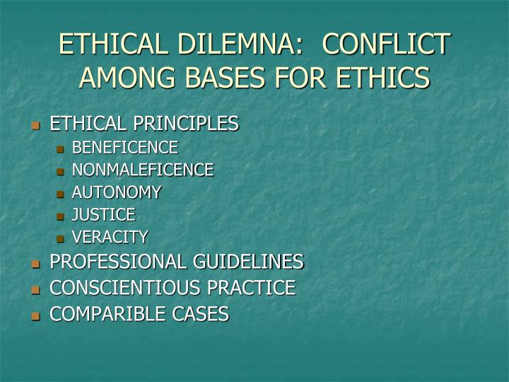 ETHICAL DILEMNA:  CONFLICT AMONG BASES FOR ETHICS