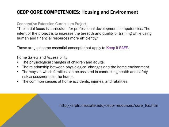 Cecp core competencies housing and environment
